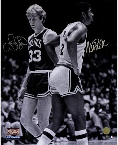 "Magic Johnson/Larry Bird 'On Court B/W' Signed 16"" x 20"" Photo"