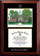 Maine Black Bears Gold Embossed Diploma Frame with Campus Images Lithograph