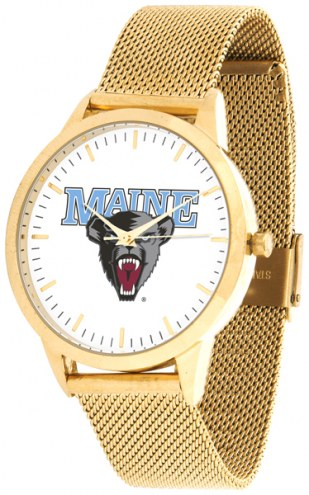 Maine Black Bears Gold Mesh Statement Watch