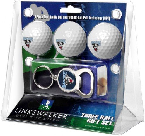 Maine Black Bears Golf Ball Gift Pack with Key Chain