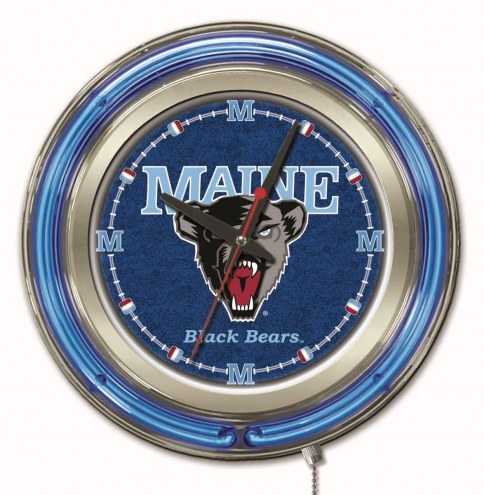 Maine Black Bears Neon Clock