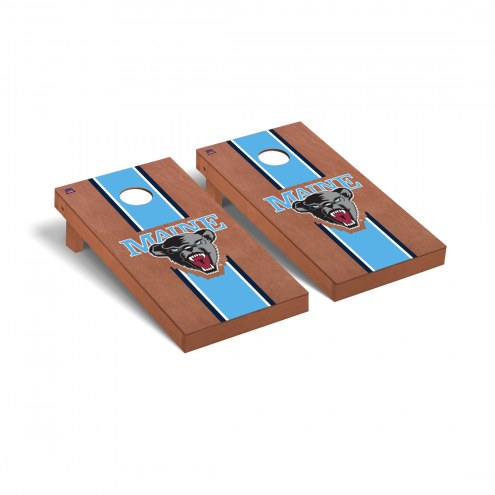 Maine Black Bears Rosewood Stained Cornhole Game Set