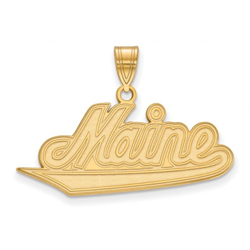 Maine Black Bears Sterling Silver Gold Plated Large Pendant