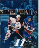 """Mark Messier Oilers and Rangers Hall of Fame Collage 11 x 14 Photo w/ """"HOF"""" Insc."""