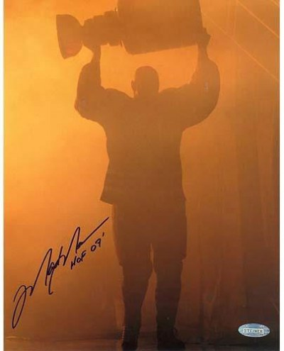 """Mark Messier Oilers Retirement Night Entering through Smoke with Stanley Cup w/ """"HOF 07"""" Insc. 8x10 Photo"""