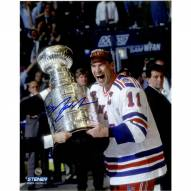 Mark Messier Signed Cup on Side Vertical 8 x 10 Photo
