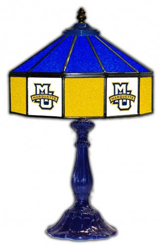 """Marquette Golden Eagles 21"""" Glass Table Lamp"""