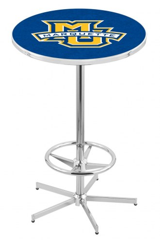 Marquette Golden Eagles Chrome Bar Table with Foot Ring