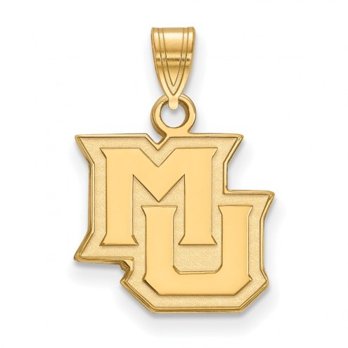 Marquette Golden Eagles College Sterling Silver Gold Plated Small Pendant