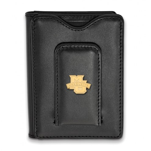 Marquette Golden Eagles Sterling Silver Gold Plated Black Leather Wallet