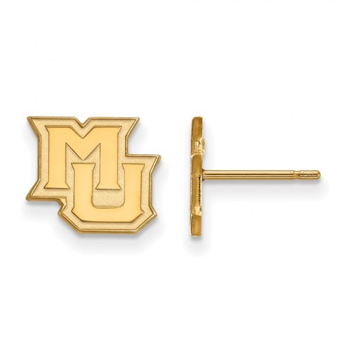 Marquette Golden Eagles Sterling Silver Gold Plated Extra Small Post Earrings