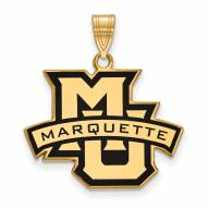 Marquette Golden Eagles Sterling Silver Gold Plated Large Enameled Pendant