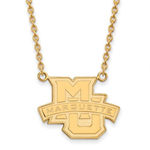 Marquette Golden Eagles Sterling Silver Gold Plated Large Pendant Necklace
