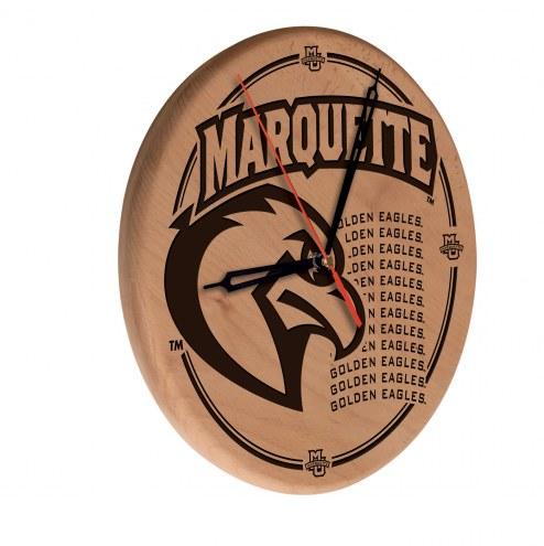 Marquette Golden Eagles Laser Engraved Wood Clock
