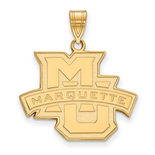 Marquette Golden Eagles NCAA Sterling Silver Gold Plated Large Pendant