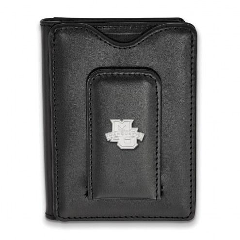 Marquette Golden Eagles Sterling Silver Black Leather Wallet