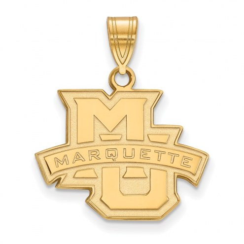 Marquette Golden Eagles Sterling Silver Gold Plated Medium Pendant