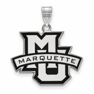Marquette Golden Eagles Sterling Silver Large Enameled Pendant