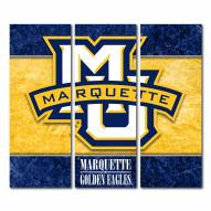 Marquette Golden Eagles Triptych Double Border Canvas Wall Art