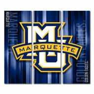 Marquette Golden Eagles Triptych Rush Canvas Wall Art