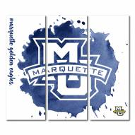 Marquette Golden Eagles Triptych Watercolor Canvas Wall Art