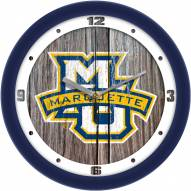 Marquette Golden Eagles Weathered Wood Wall Clock