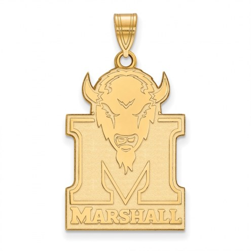 Marshall Thundering Herd NCAA Sterling Silver Gold Plated Extra Large Pendant