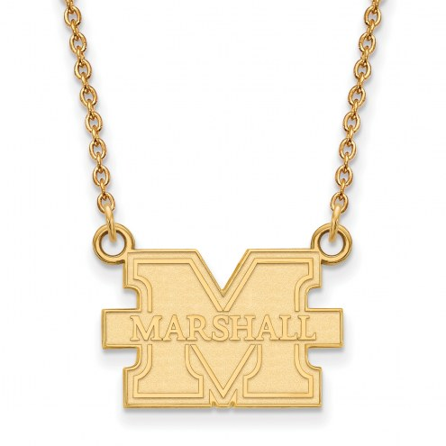 Marshall Thundering Herd Sterling Silver Gold Plated Small Pendant with Necklace