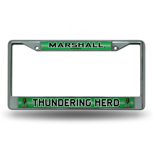 Marshall Thundering Herd Chrome Glitter License Plate Frame