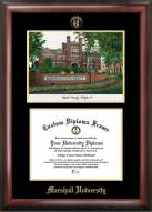 Marshall Thundering Herd Gold Embossed Diploma Frame with Campus Images Lithograph