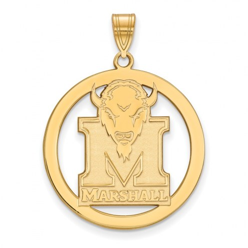 Marshall Thundering Herd Sterling Silver Gold Plated Large Circle Pendant