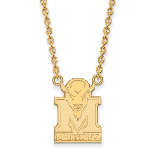 Marshall Thundering Herd NCAA Sterling Silver Gold Plated Large Pendant Necklace