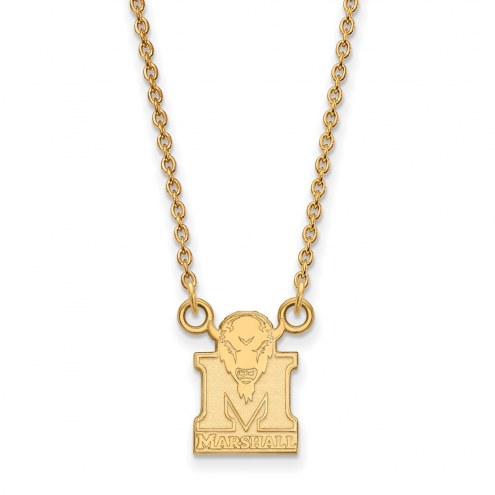Marshall Thundering Herd NCAA Sterling Silver Gold Plated Small Pendant Necklace