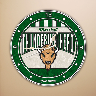 Marshall Thundering Herd NCAA Stained Glass Wall Clock