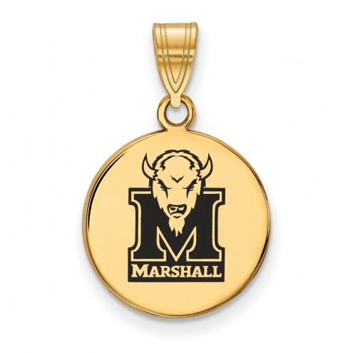 Marshall Thundering Herd Sterling Silver Gold Plated Medium Enameled Disc Pendant