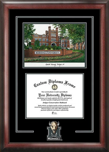 Marshall Thundering Herd Spirit Diploma Frame with Campus Image