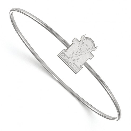 Marshall Thundering Herd Sterling Silver Bangle Slip on Bracelet