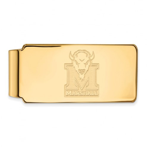 Marshall Thundering Herd Sterling Silver Gold Plated Money Clip