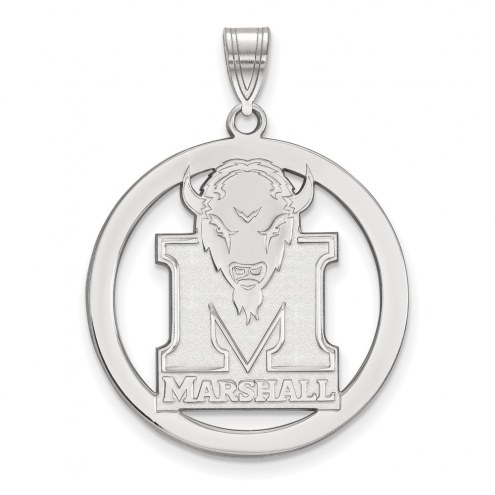 Marshall Thundering Herd Sterling Silver Large Circle Pendant