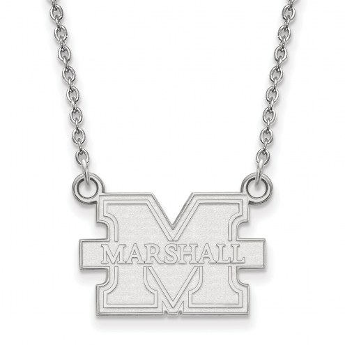 Marshall Thundering Herd Sterling Silver Small Pendant with Necklace