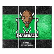 Marshall Thundering Herd Triptych Double Border Canvas Wall Art