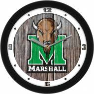 Marshall Thundering Herd Weathered Wood Wall Clock