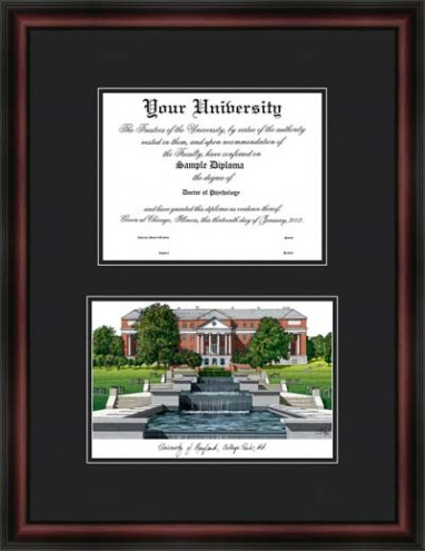 University of Maryland College Park Diplomate Framed Lithograph with Diploma Opening