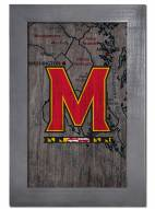"""Maryland Terrapins 11"""" x 19"""" City Map Framed Sign"""
