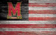 """Maryland Terrapins 11"""" x 19"""" Distressed Flag Sign"""