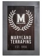 "Maryland Terrapins 11"" x 19"" Laurel Wreath Framed Sign"