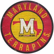 """Maryland Terrapins 12"""" Circle with State Sign"""