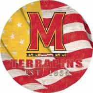 "Maryland Terrapins 12"" Team Color Flag Circle Sign"