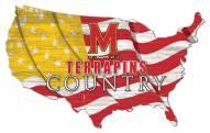 "Maryland Terrapins 15"" USA Flag Cutout Sign"