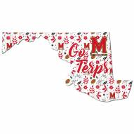 """Maryland Terrapins 24"""" Floral State Sign"""